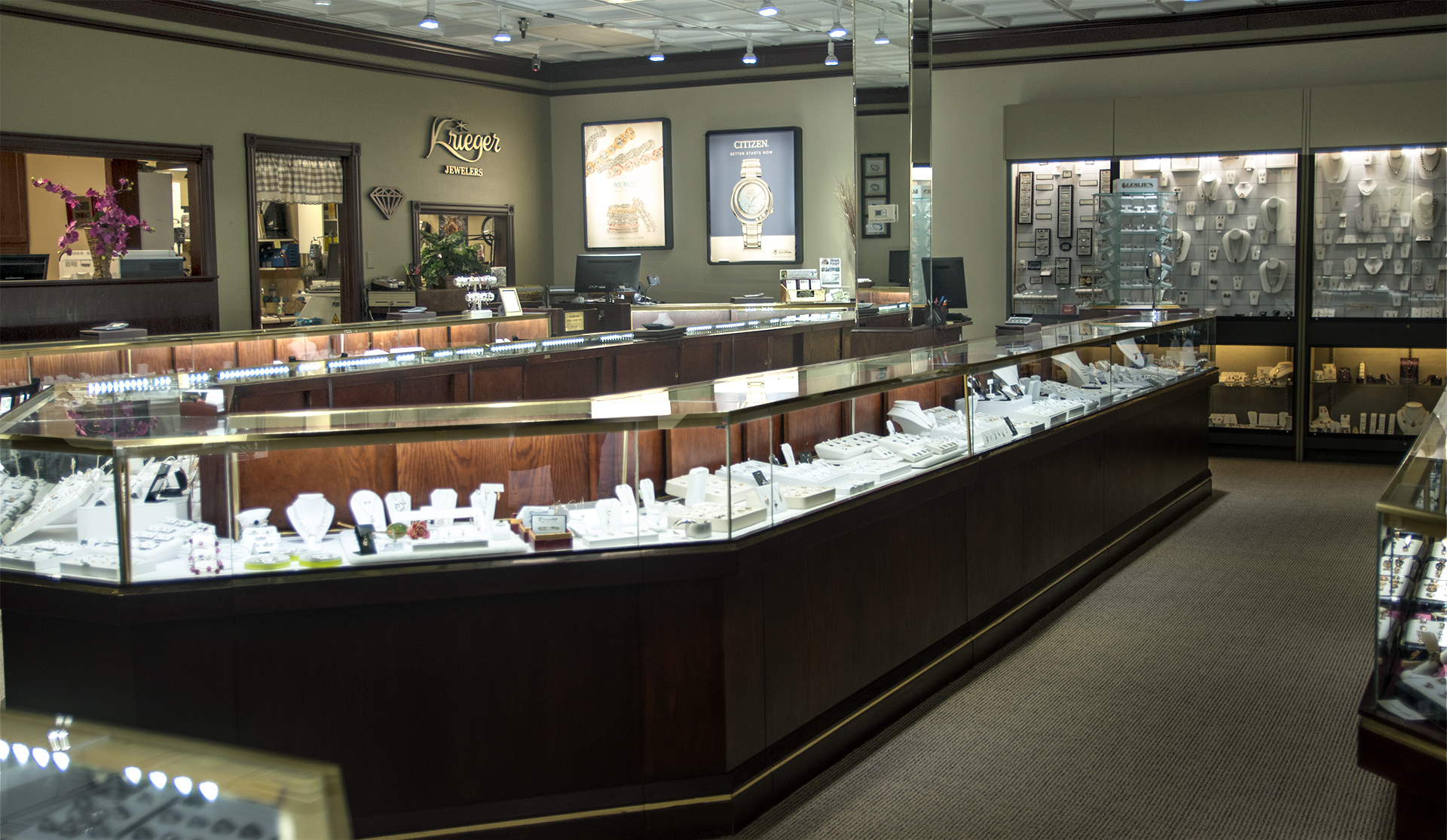 Inside of Krieger Jewelers low light
